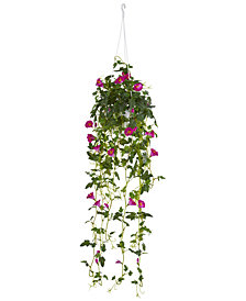 """Nearly Natural 30"""" Petunia Artificial Plant Hanging Basket"""