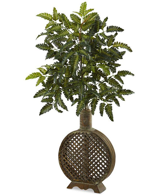 "Nearly Natural 39"" Bracken Fern Artificial Plant in Open-Weave Planter"