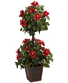 """39"""" Hibiscus Double Topiary Artificial Plant"""