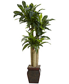Nearly Natural 4.5' Cornstalk Dracaena Real Touch Artificial Plant in Vase