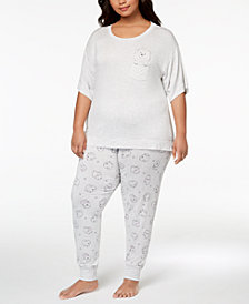 Jenni by Jennifer Moore Plus Size Graphic-Pocket Pajama Top & Printed Jogger Pajama Pants Sleep Separates, Created for Macy's