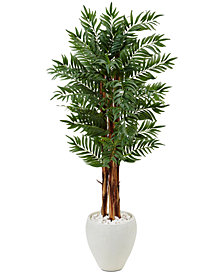 Nearly Natural 5' Parlor Palm Artificial Tree in White Oval Planter