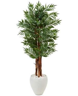 Nearly Natural 5 Parlor Palm Artificial Tree in White Oval Planter
