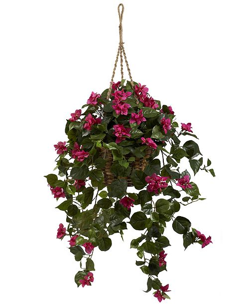 Nearly Natural Bougainvillea Artificial Plant Hanging Basket