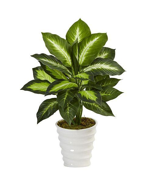 Nearly Natural Dieffenbachia Artificial Plant in Swirl Planter
