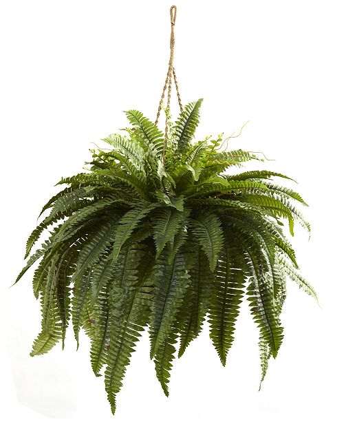 Nearly Natural Double Giant Boston Fern Artificial Plant Hanging Basket
