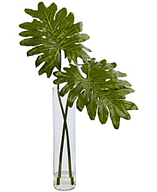 Selloum Artificial Plant in Glass Cylinder Vase