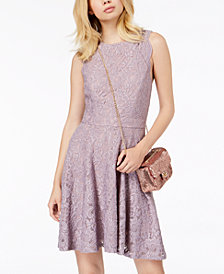 City Studios Juniors' Glitter-Lace Skater Dress
