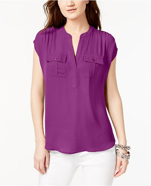 INC International Concepts I.N.C. International Concepts Mixed-Media Utility Shirt, Created for Macy's