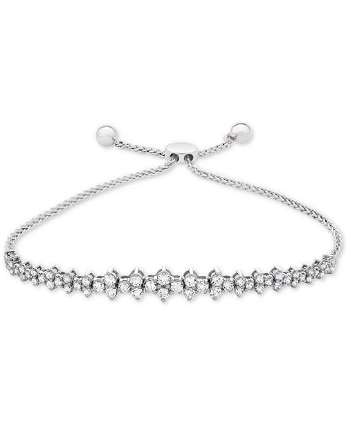 Wrapped in Love Diamond Honeycomb Bolo Bracelet (1-1/2 ct. t.w.) in 14k White Gold, Created for Macy's