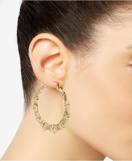 Extra Large Gold Tone Bamboo Style Hoop Earrings 11 Reviews Main Image