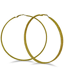 GUESS Gold-Tone Textured Triple-Row Hoop Earrings
