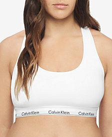 Calvin Klein Plus Size Modern Cotton Unlined Bralette QF5116, First at Macy's