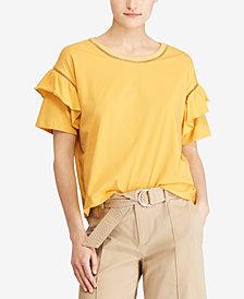 Lauren Ralph Lauren Petite Ruffle-Sleeve T-Shirt