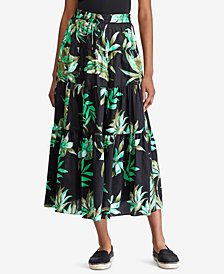 Lauren Ralph Lauren Petite Printed Cotton Midi Skirt