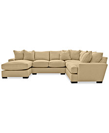 Ainsley 3-Piece Fabric Chaise Sectional Sofa with 6 Toss Pillows
