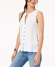Lucky Brand Embroidered Button-Front Tank Top