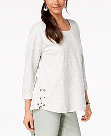 Style & Co Flecked Side Lace-Up Top, Created for Macy's