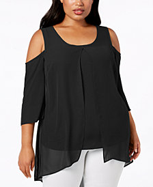 NY Collection Plus Size Cold-Shoulder Chiffon-Trim Tunic