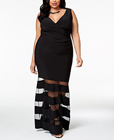 Betsy & Adam Plus Size Mesh-Stripe Gown
