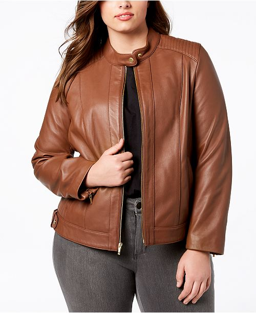 11e01dffc526c Cole Haan Plus Size Leather Moto Jacket   Reviews - Coats - Women ...