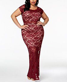 Morgan & Company Trendy Plus Size Lace Bodycon Gown