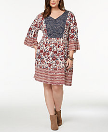 Style & Co Plus Size Mixed-Print Flutter-Sleeve Peasant Dress, Created for Macy's