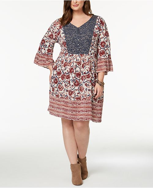 Print Sleeve Dress Style Macy's Regal Co for Mixed Created amp; Size Plus Flutter Peasant Boho qAxAXz0