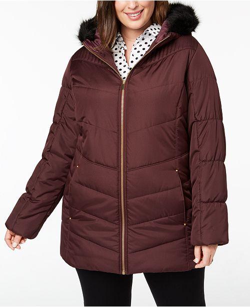 5bef3c7718d17 Celebrity Pink Juniors  Plus Size Faux-Fur-Trim Puffer Coat   Reviews ...