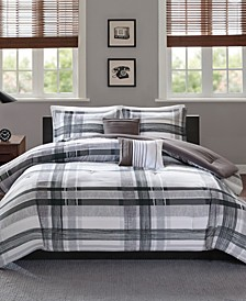 Rudy 5-Pc. Plaid Full/Queen Comforter Set