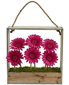 Nearly Natural Gerber Daisy Garden Artificial Arrangement in Hanging Wood Frame