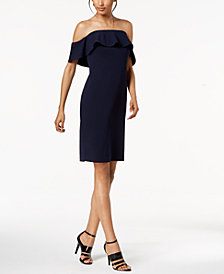 Calvin Klein Ruffled Off-The-Shoulder Dress