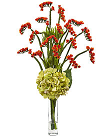 Nearly Natural Hydrangea and Statice Bud Artificial Arrangement in Glass Vase