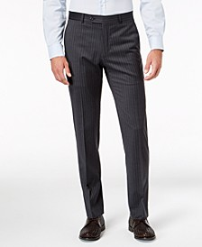 Men's Slim-Fit TH Flex Stretch Gray/White Stripe Suit Pants