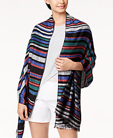 Calvin Klein Striped Logo Fringe Wrap