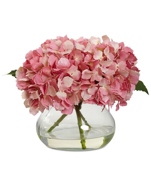 Nearly Natural Pink Blooming Hydrangea Artificial Arrangement with Glass Vase