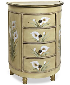Nearly Natural Antique-Style Accessory Table with Calla Lily Floral Art