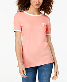 Hybrid Juniors' Barbie Head Logo Graphic-Print T-Shirt