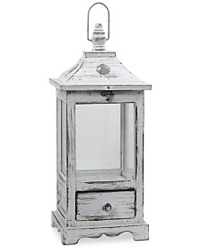 Nearly Natural Distressed Wood Lantern with Drawer