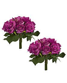 Nearly Natural Purple Rose Bush Artificial Bouquet, Set of 2