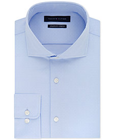 Tommy Hilfiger Men's Fitted Stretch Flex Collar Blue Dress Shirt