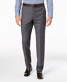 DKNY Men's Slim-Fit Gray Blue Tic Suit Pants