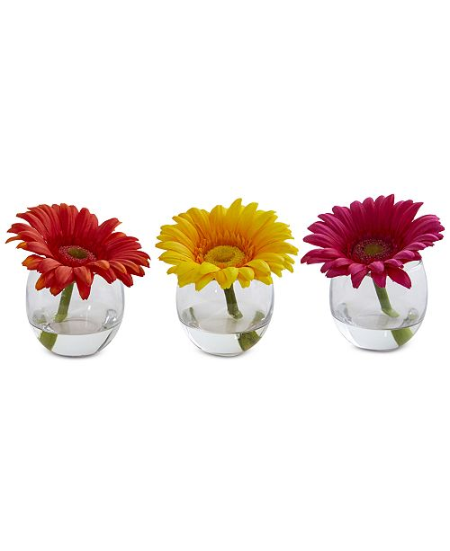 Nearly Natural Gerbera Daisy Artificial Arrangement in Glass Vase, Set of 3