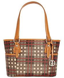 Giani Bernini Plaid Block Signature Tote, Created for Macy's