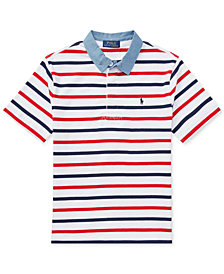 Polo Ralph Lauren Striped Cotton Rugby Shirt, Little Boys