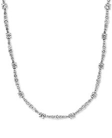 """Cubic Zirconia 17"""" Collar Necklace in Sterling Silver"""