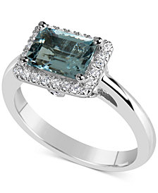 Aquamarine (1-5/8 ct. t.w.) & Diamond (1/6 ct. t.w.) Ring in 14k White Gold