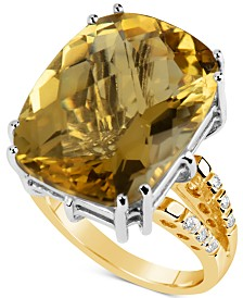Citrine (18-1/2 ct. t.w.) & Diamond (1/6 ct. t.w.) Ring in 14k Gold