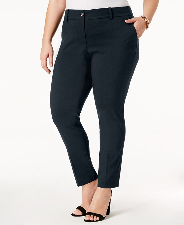 Michael Kors Plus Size Miranda Stretch Slim-Leg Pants