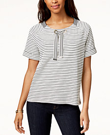 Tommy Hilfiger Tie-Neck Top, Created for Macy's